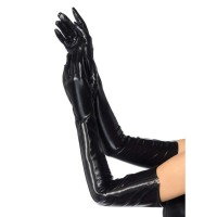 Black Wet Look Lycra Zipper Opera Gloves