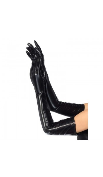 Black Wet Look Lycra Zipper Opera Gloves at Stripper Plus Clubwear, Stripper Clothes, Exotic Dancewear, Sexy Club Wear, Extreme Platform Shoes