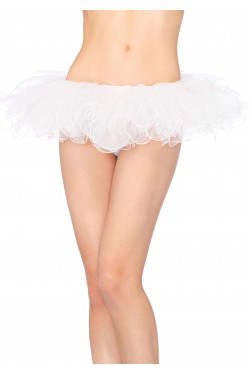 Tulle Swirl Edge White Tutu Petticoat Skirt Stripper Plus Clubwear Stripper Clothes, Exotic Dancewear, Sexy Club Wear, Extreme Platform Shoes