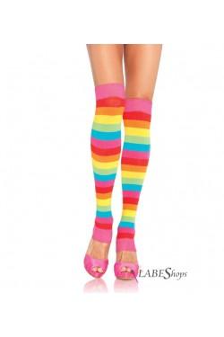Rainbow Striped Leg Warmers Stripper Plus Clubwear Stripper Clothes, Exotic Dancewear, Sexy Club Wear, Extreme Platform Shoes