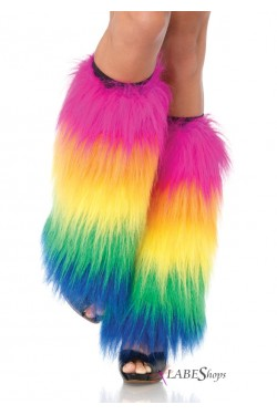 Rainbow Fun Fur Leg Warmers