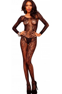 Black Swirl Lace Bodystocking Stripper Plus Clubwear Stripper Clothes, Exotic Dancewear, Sexy Club Wear, Extreme Platform Shoes