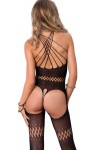 Twisted Strap Opaque Black Bodystocking at Stripper Plus Clubwear, Stripper Clothes, Exotic Dancewear, Sexy Club Wear, Extreme Platform Shoes