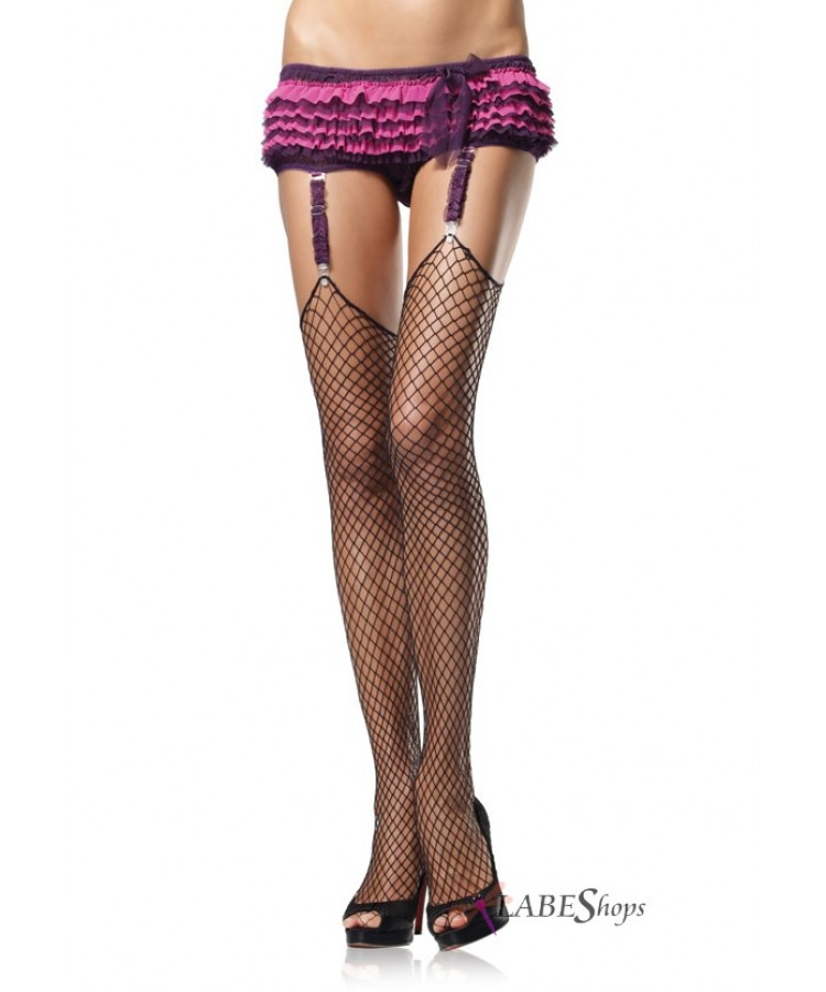 Fence Net Thigh High Garter Stockings at Stripper Plus Clubwear