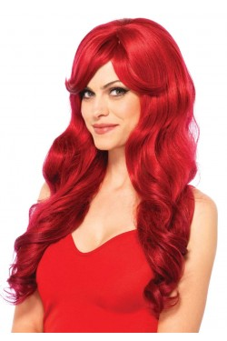 Extra Long Red Wavy Wig Stripper Plus Clubwear Stripper Clothes, Exotic Dancewear, Sexy Club Wear, Extreme Platform Shoes