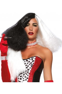 Black and White Cruella Costume Wig Stripper Plus Clubwear Stripper Clothes, Exotic Dancewear, Sexy Club Wear, Extreme Platform Shoes