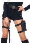 Strappy Black Utility Belt with Leg Garter at Stripper Plus Clubwear, Stripper Clothes, Exotic Dancewear, Sexy Club Wear, Extreme Platform Shoes