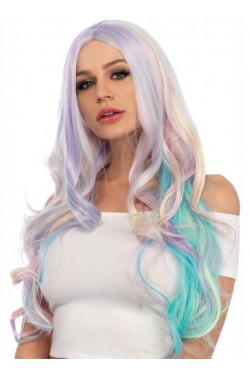 Pastel Rainbow Long Wavy Wig Stripper Plus Clubwear Stripper Clothes, Exotic Dancewear, Sexy Club Wear, Extreme Platform Shoes