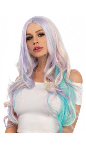 Pastel Rainbow Long Wavy Wig at Stripper Plus Clubwear, Stripper Clothes, High Heels, Dance Costumes, Sexy Club Wear