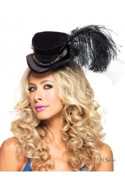 Steampunk Black Velvet Top Hat Stripper Plus Clubwear Stripper Clothes, Exotic Dancewear, Sexy Club Wear, Extreme Platform Shoes