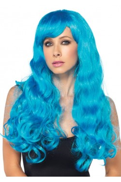 Neon Blue Long Wavy Wig Stripper Plus Clubwear Stripper Clothes, Exotic Dancewear, Sexy Club Wear, Extreme Platform Shoes
