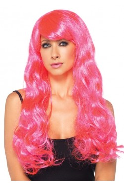 Neon Pink Long Wavy Wig Stripper Plus Clubwear Stripper Clothes, Exotic Dancewear, Sexy Club Wear, Extreme Platform Shoes