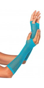 Neon Blue Triangle Net Fingerless Gloves
