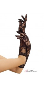 Black Elbow Length Lace Gloves