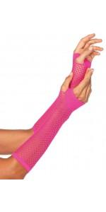 Neon Pink Triangle Net Fingerless Gloves