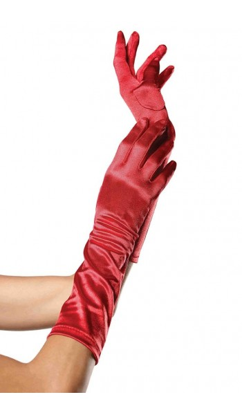 Red Satin Elbow Length Gloves at Stripper Plus Clubwear, Stripper Clothes, Exotic Dancewear, Sexy Club Wear, Extreme Platform Shoes