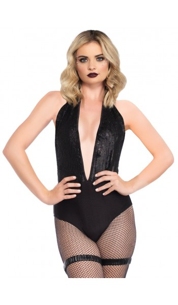 Shimmer Sequin Black Halter Bodysuit at Stripper Plus Clubwear, Stripper Clothes, Exotic Dancewear, Sexy Club Wear, Extreme Platform Shoes
