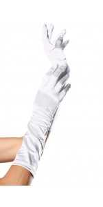 White Satin Elbow Length Gloves