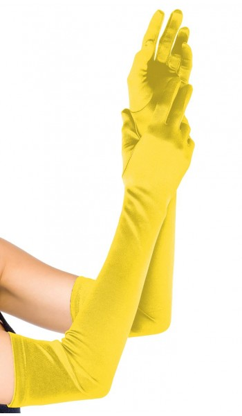 Yellow Satin Extra Long Opera Gloves at Stripper Plus Clubwear, Stripper Clothes, Exotic Dancewear, Sexy Club Wear, Extreme Platform Shoes