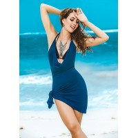 Blue Summer Vibes Plunge Dress