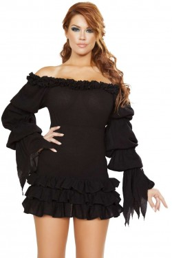 1c4a63161ed2 Ruffled Black Gothic Pirate Dress