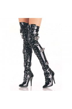 Seduce Buckled Black Patent Thigh High Boots Stripper Plus Clubwear Stripper Clothes, Exotic Dancewear, Sexy Club Wear, Extreme Platform Shoes