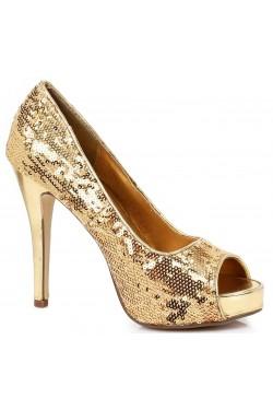 Gold Flamingo Sequin Peep Toe Pumps Stripper Plus Clubwear Stripper Clothes, Exotic Dancewear, Sexy Club Wear, Extreme Platform Shoes