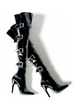 Buckle Up Black Thigh High 5 Inch Heel Boot Stripper Plus Clubwear Stripper Clothes, Exotic Dancewear, Sexy Club Wear, Extreme Platform Shoes