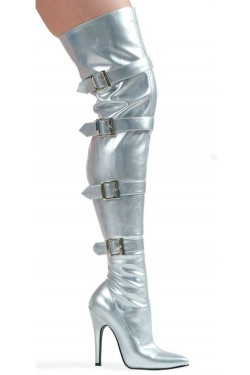 Buckle Up Silver Thigh High 5 Inch Heel Boot Stripper Plus Clubwear Stripper Clothes, Exotic Dancewear, Sexy Club Wear, Extreme Platform Shoes