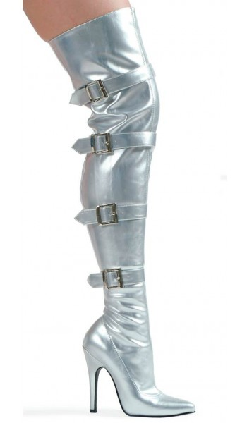 Buckle Up Silver Thigh High 5 Inch Heel Boot at Stripper Plus Clubwear, Stripper Clothes, Exotic Dancewear, Sexy Club Wear, Extreme Platform Shoes