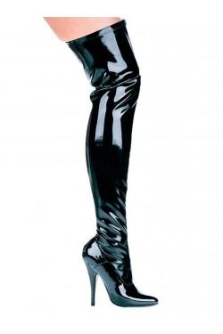Ally Black Patent Thigh High 5 Inch Heel Boot Stripper Plus Clubwear Stripper Clothes, Exotic Dancewear, Sexy Club Wear, Extreme Platform Shoes