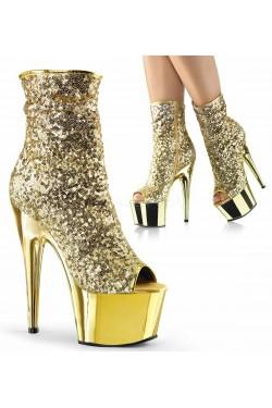Gold Sequin Adore Platform Ankle Boots Stripper Plus Clubwear Stripper Clothes, Exotic Dancewear, Sexy Club Wear, Extreme Platform Shoes