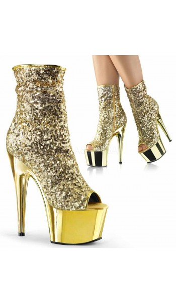 Gold Sequin Adore Platform Ankle Boots at Stripper Plus Clubwear, Stripper Clothes, Exotic Dancewear, Sexy Club Wear, Extreme Platform Shoes