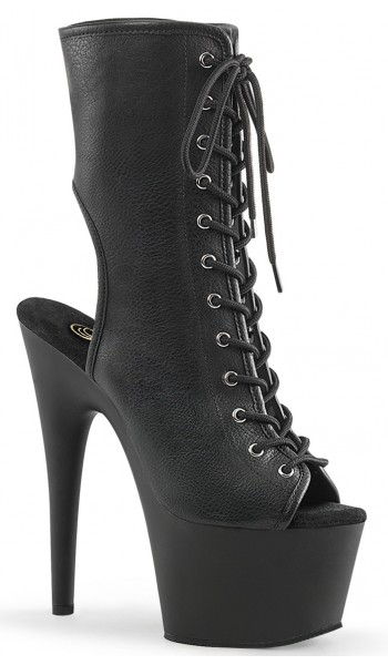 Black Faux Leather Adore Platform Ankle Boots at Stripper Plus Clubwear, Stripper Clothes, Exotic Dancewear, Sexy Club Wear, Extreme Platform Shoes