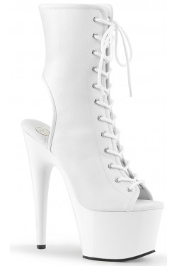 White Faux Leather Adore Platform Ankle Boots