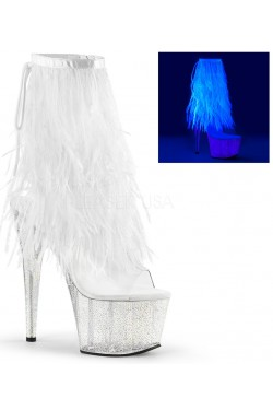 Neon White Marabou Trimmed Platform Ankle Boot Stripper Plus Clubwear Stripper Clothes, Exotic Dancewear, Sexy Club Wear, Extreme Platform Shoes