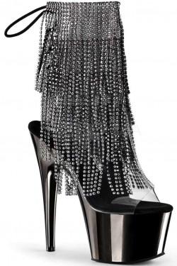 Black Rhinestone Fringe Platform Ankle Boot Stripper Plus Clubwear Stripper Clothes, Exotic Dancewear, Sexy Club Wear, Extreme Platform Shoes