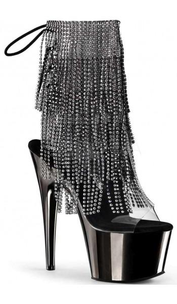 Black Rhinestone Fringe Platform Ankle Boot at Stripper Plus Clubwear, Stripper Clothes, Exotic Dancewear, Sexy Club Wear, Extreme Platform Shoes