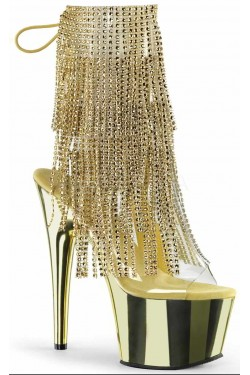 Gold Rhinestone Fringe Platform Ankle Boot
