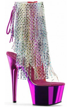 Hot Pink Rhinestone Fringe Platform Ankle Boot Stripper Plus Clubwear Stripper Clothes, Exotic Dancewear, Sexy Club Wear, Extreme Platform Shoes