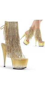 Gold Rhinestone Fringe 7 Inch Heel Ankle Boot