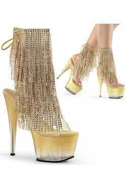 Gold Rhinestone Fringe 7 Inch Heel Ankle Boot Stripper Plus Clubwear Stripper Clothes, Exotic Dancewear, Sexy Club Wear, Extreme Platform Shoes