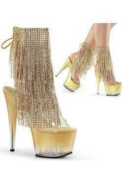 Gold Rhinestone Fringe 7 Inch Heel Ankle Boot Stripper Plus Clubwear Stripper Clothes, Exotic Dancewear, Sexy Club Wear, Extreme Platform Shoes