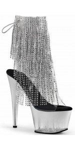 Silver Rhinestone Fringe 7 Inch Heel Ankle Boot