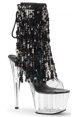 Black Sequin Fringe 7 Inch Heel Ankle Boot