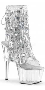 Silver Sequin Fringe 7 Inch Heel Ankle Boot
