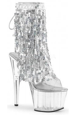 Silver Sequin Fringe 7 Inch Heel Ankle Boot Stripper Plus Clubwear Stripper Clothes, Exotic Dancewear, Sexy Club Wear, Extreme Platform Shoes