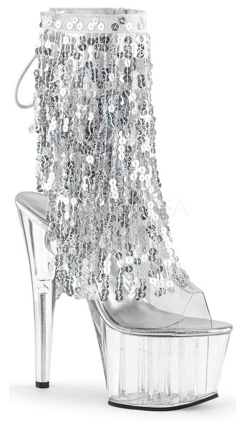 Silver Sequin Fringe 7 Inch Heel Ankle Boot at Stripper Plus Clubwear, Stripper Clothes, Exotic Dancewear, Sexy Club Wear, Extreme Platform Shoes