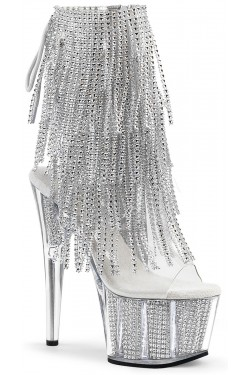 Rhinestone Fringed Silver 7 Inch Heel Ankle Boot Stripper Plus Clubwear Stripper Clothes, Exotic Dancewear, Sexy Club Wear, Extreme Platform Shoes