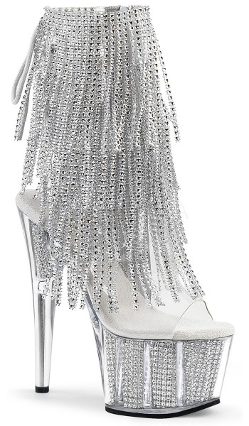 Rhinestone Fringed Silver 7 Inch Heel Ankle Boot at Stripper Plus Clubwear, Stripper Clothes, Exotic Dancewear, Sexy Club Wear, Extreme Platform Shoes